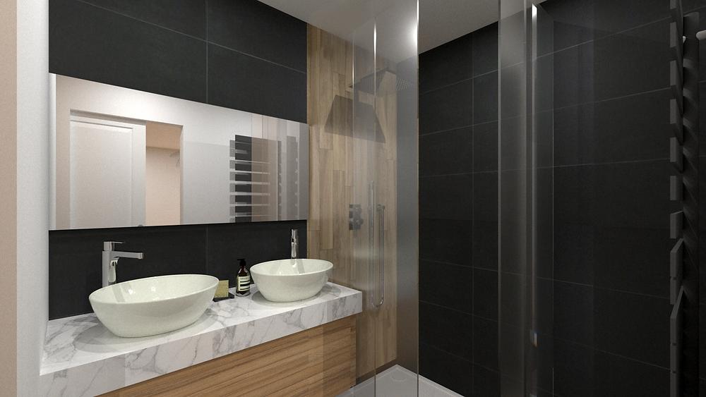Salle de bains pour un aménagement en VEFA à Lyon avec optimisation des plans du promoteur