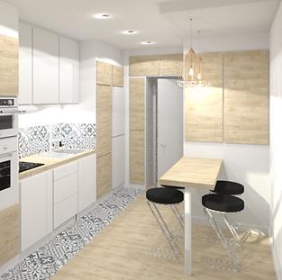 rénovation de cuisine à Lyon stratifié egger frene de lyon sable et carreau de ciment bleus, electromenager blanc