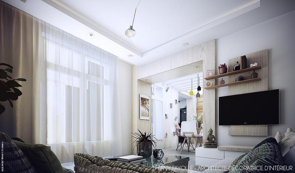 Aménagement d'un salon dans une maison de famille dans Paris par Tiffany Fayolle architecte d'intérieur et décorateur à lyon pour TGF décoration tarifs et renseignements sur le site internet de mes projets d'agencement d'intérieur