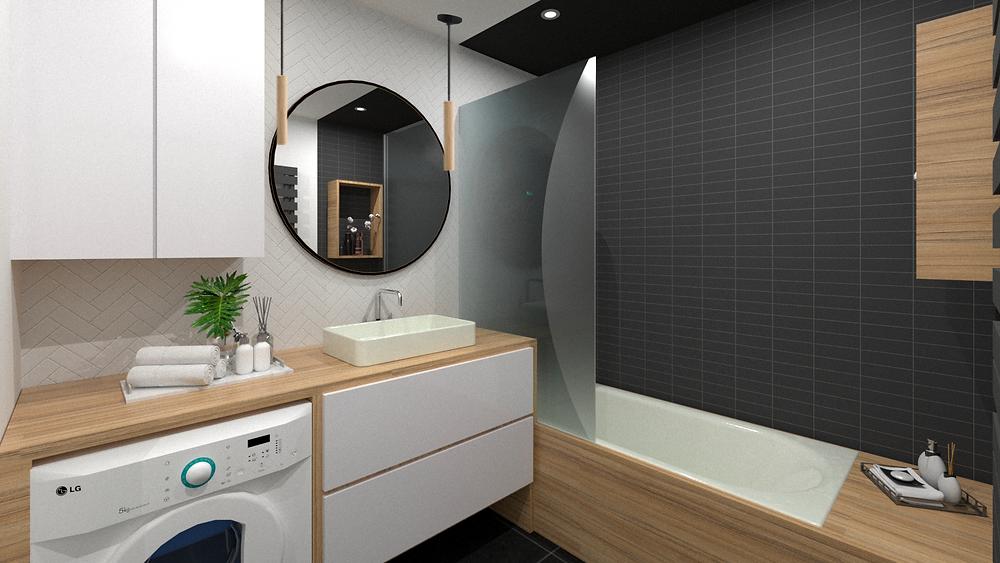 Projet d'aménagement de salle de bains avec lave linge intégré et baignoire avec paroi de douche teintée fumée d'un bien en VEFA par l'Agence TGF - Tiffany Fayolle.