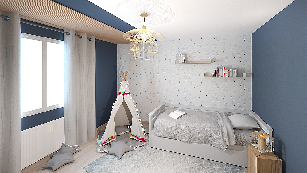 Rénovation et décoration d'une chambre d'enfant poétique près de Lyon