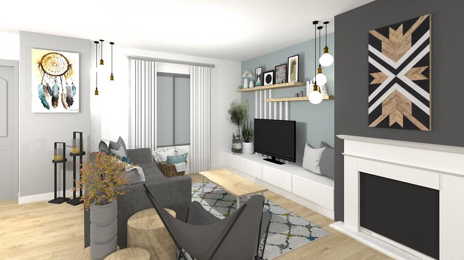 Visuel 3D de l'aménagement d'un salon moderne et scandinave dans le nord de Lyon par Tiffany architecte d'intérieur dont les tarifs sont visibles sur le site internet