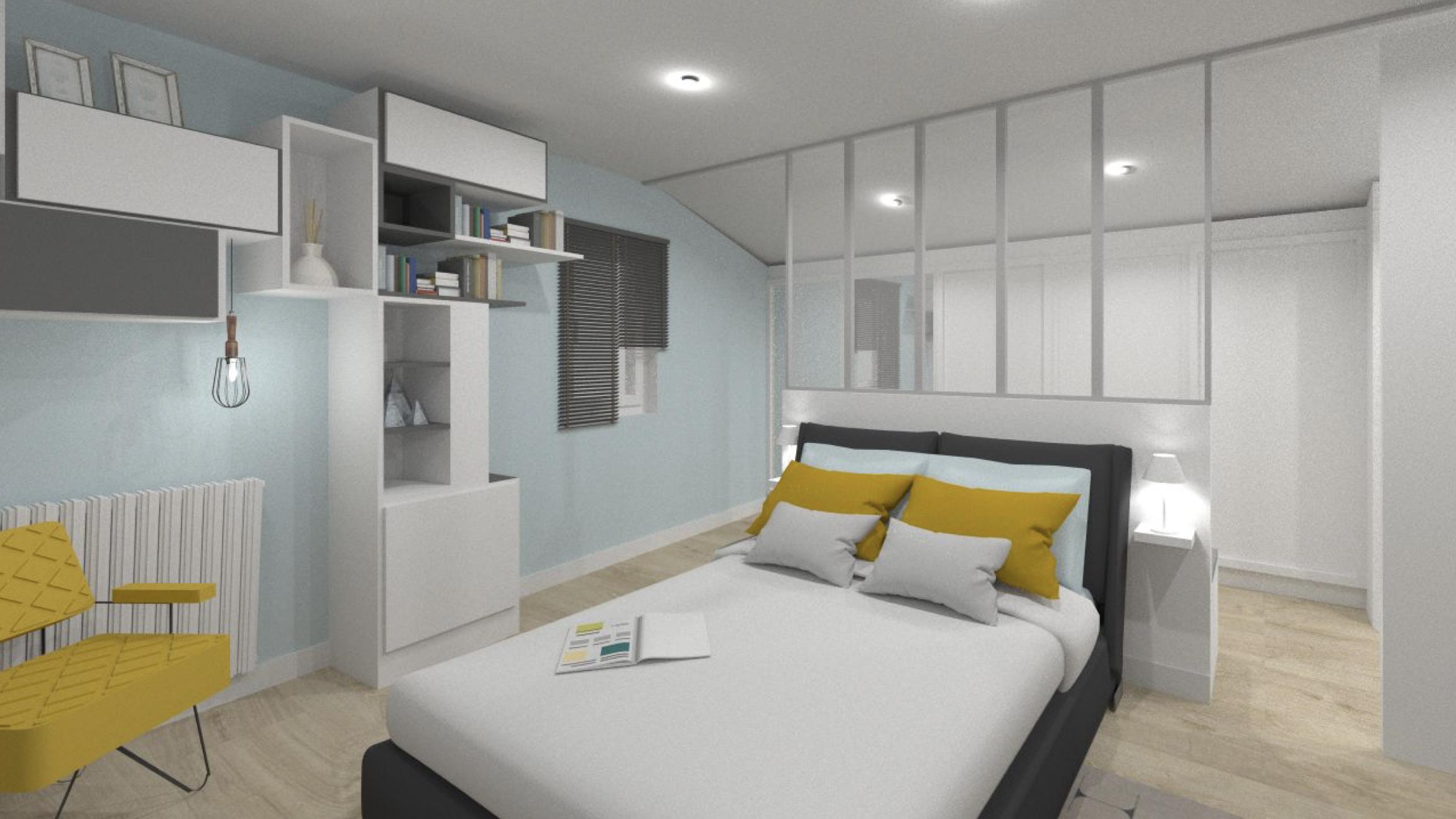 chambre parentale avec coussins jaunes et murs bleus coin lecture au pied du lit