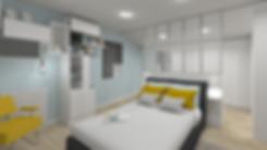 grande verriere industrielle blanche pour séparer l'espace dressing de la tete de lit