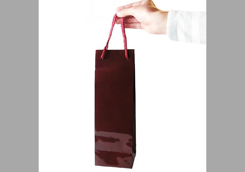 手提げ袋 ワインレッド 箸用サイズ(光沢あり)