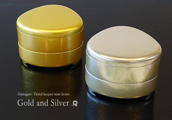 越前塗 はまぐり夫婦重箱 金銀(ゴールド&シルバー)ペア