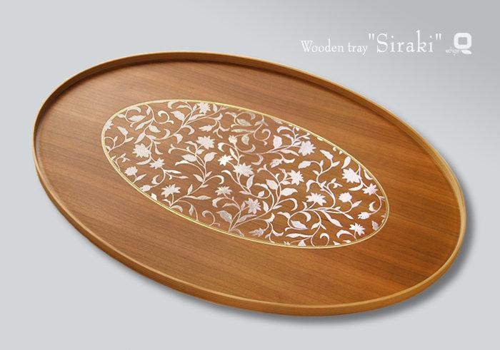 木製越前塗 アールデコ オーバルトレー 白木