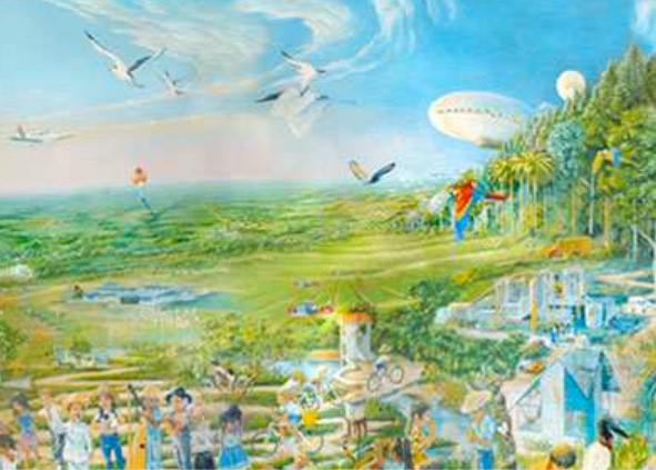 Envisagé 20 ans plus tôt par Paolo Lugari, le dirigeable est aujourd'hui opérationnel - Fresque de Las Gaviotas