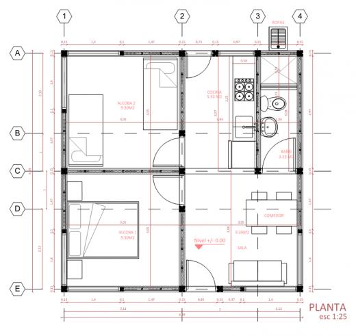 Une maison de 40 m2 comporte deux chambres, une cuisine, une salle à manger et une salle de bain, qui sont meublées. Le toit n'est pas en plastique : il peut être en tôle, en amiante-ciment, etc. Plan fourni par Oscar Mendez.