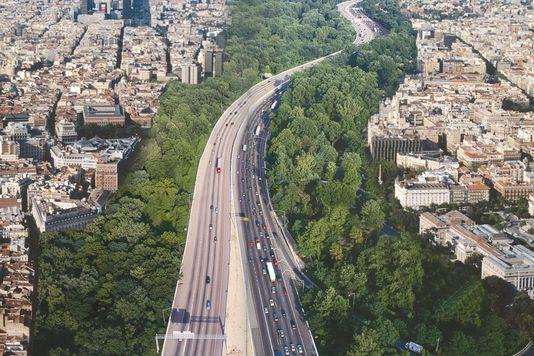 Prévision de développement de la forêt plantée le long du périphérique parisien, au niveau du 19e arrondissement. Agenceter