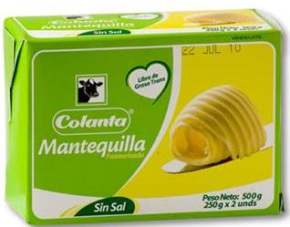MANTEQUILLA SIN SAL x500g-COLANTA