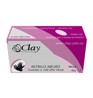 GUANTE NITRILO NEGRO TALLA L x 100und - CLAY