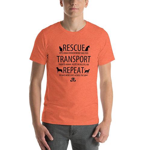 RESCUE-TRANSPORT-REPEAT Unisex T-Shirt (Light Color Tees/Black Text)