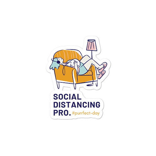 Cat Time; Social Distancing Pro sticker