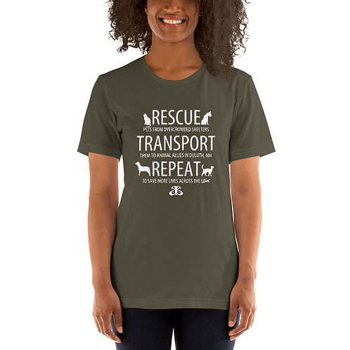 RESCUE-TRANSPORT-REPEAT Unisex T-Shirt (Dark Color Tees/White Text)