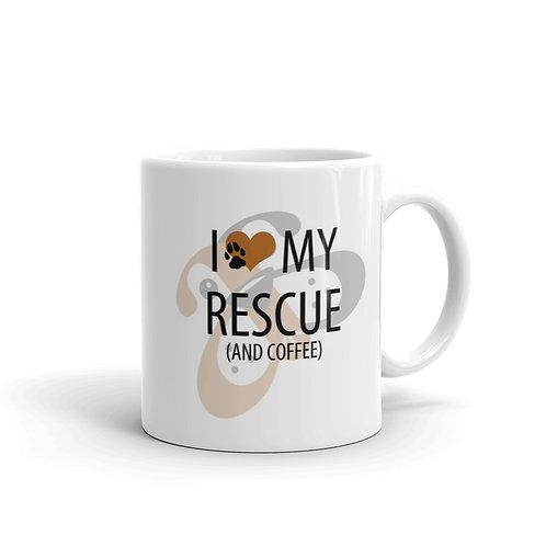 I Love My Rescue Dog Paw Mug