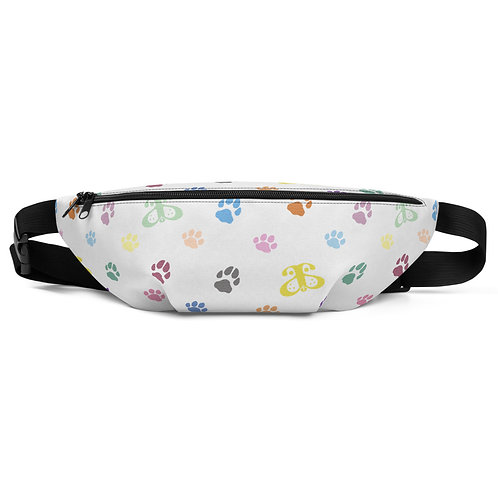 Designer Inspired Fanny Pack: Faux Leather White/Rainbow