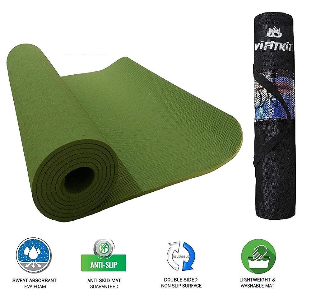 VIFITKIT Yoga Mat with Free Yoga mat Bag Anti Skid Yoga mat for Gym Workout
