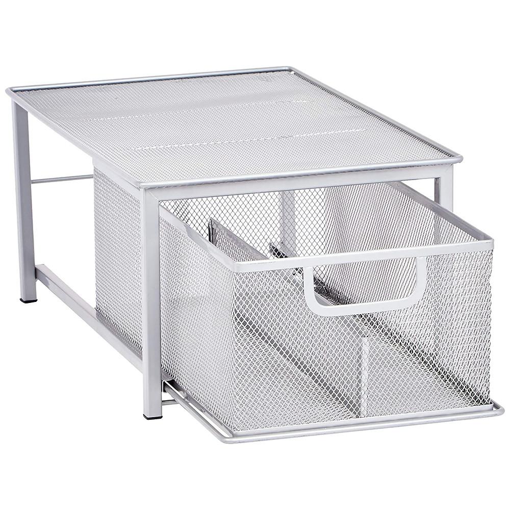 Mesh Sliding Basket Drawer Storage Shelf Organizer, Silver