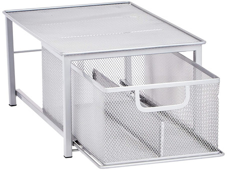 Recommended - Mesh Sliding Basket Drawer Storage Shelf Organizer, Silver