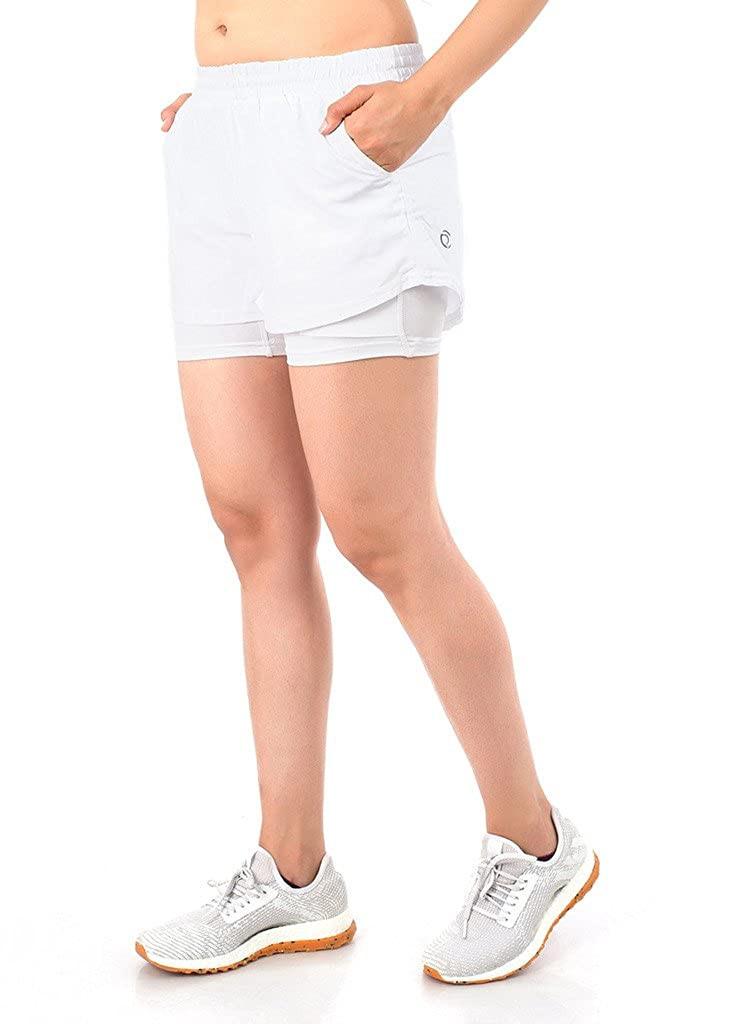 TRUEREVO Women's Double Layered Running Shorts with Phone Pocket