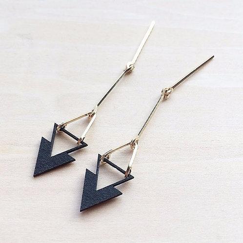 Paper pierced earring 14kgf  0008 BLACK PV14G-0008B