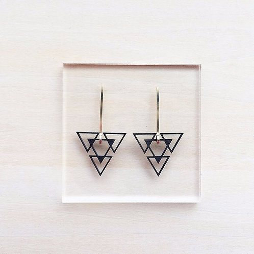 Paper pierced earring 14kgf  0003 BLACK PV14G-0003B