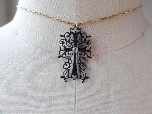 蒼山日菜★PAPERMAKE Paper Necklace Cross hina-0009B