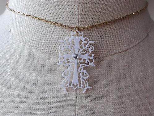 蒼山日菜★PAPERMAKE Paper Necklace Cross hina-0009W