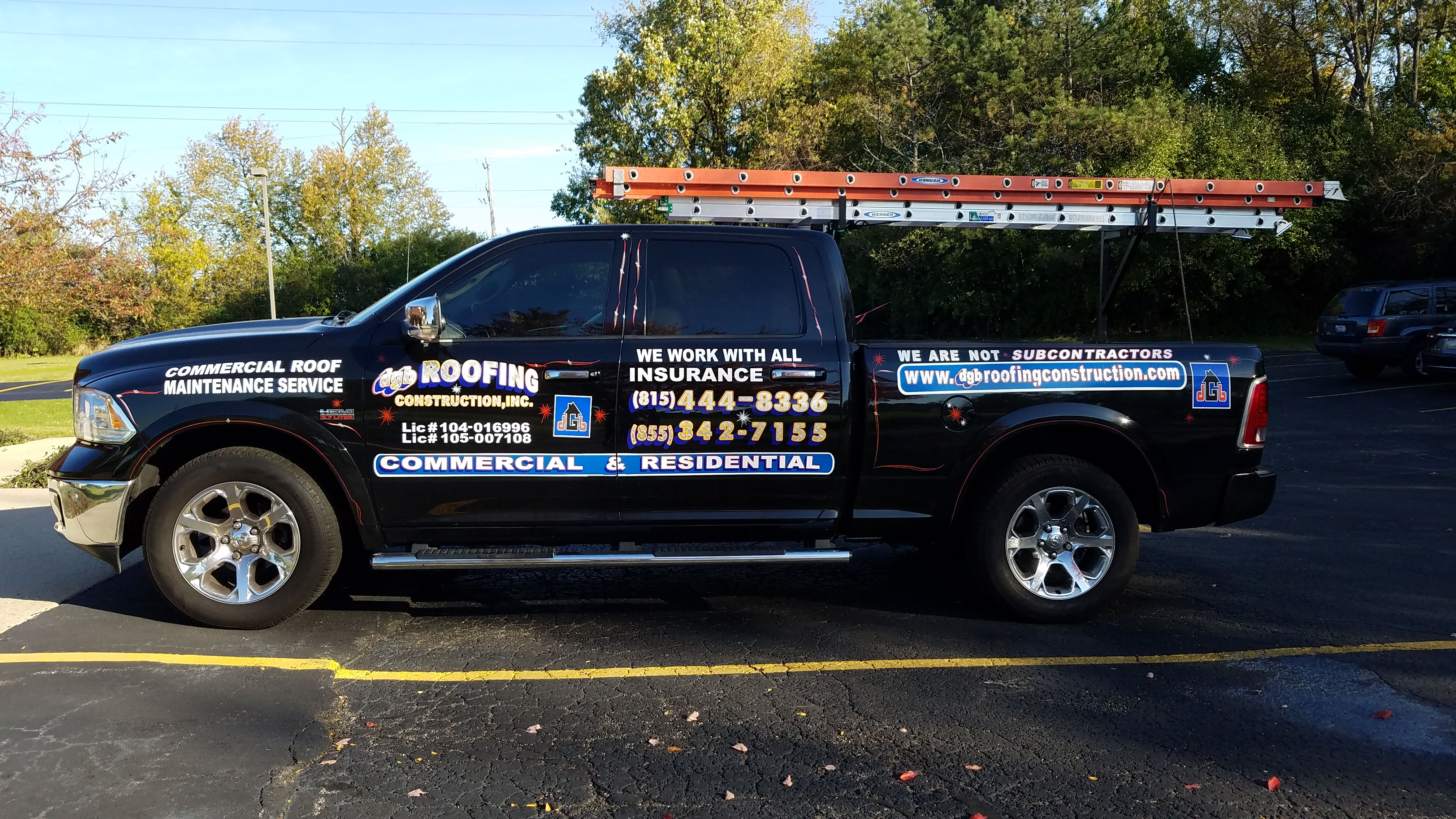 DGB Roofing black truck