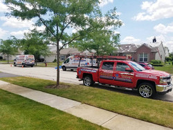 DGB Roofing red truck/2 work trucks