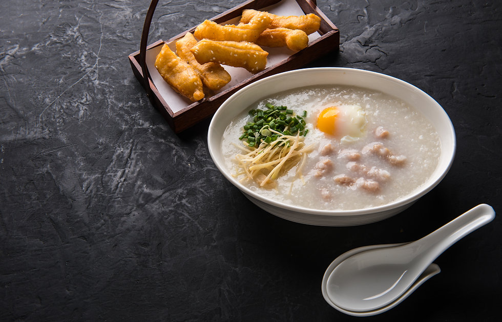 Congee with minced pork and egg is a fav