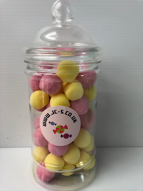 Traditional plastic sweet jar with Rhubard and Custard Bon Bon's