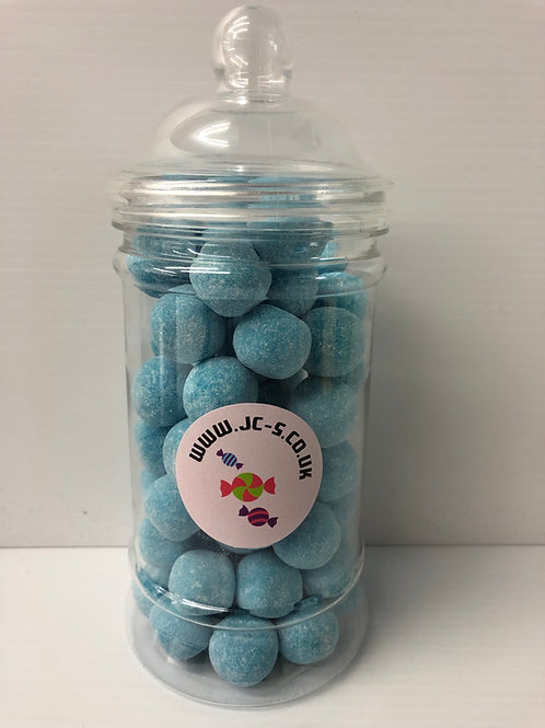 Traditional plastic sweet jar filled with Blue Raspberry Bon bons