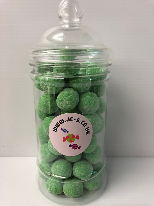 Traditional plastic sweet jar filled with Watermelon flavoured Bon bons