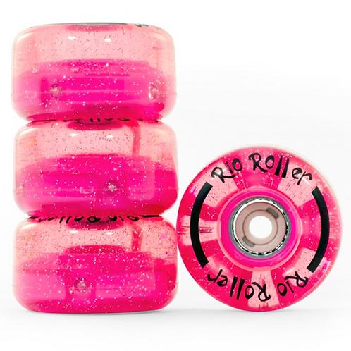 RIO ROLLER PINK GLITTER WHEELS(4 PACK)