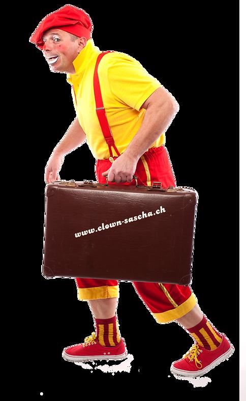Clown Sascha mit Koffer