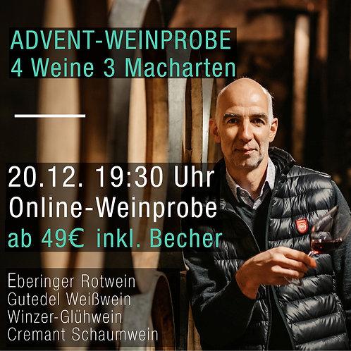 Advent-Weinprobe. 4 Weine - 3 Macharten