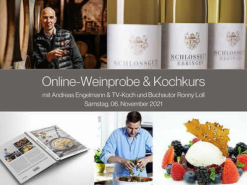 Online Kochkurs und Wein-Tasting inkl. Kochbuch &   6 Spitzen Weine