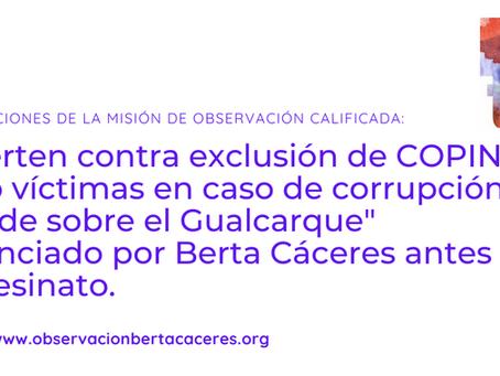 Misión calificada advierte contra exclusión de COPINH como víctimas en caso de corrupción