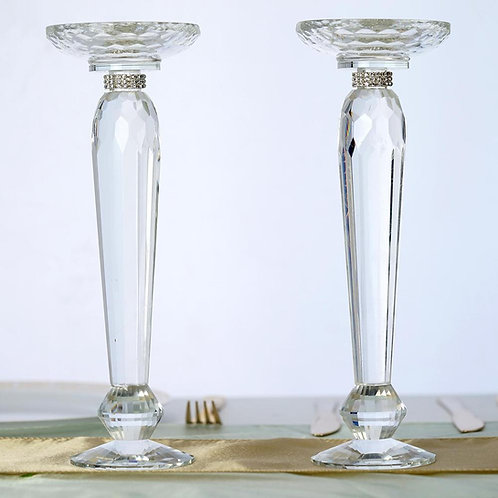 "11"" Tall Premium Cut Glass Crystal Pillar Candle Holder/ Floral Stand"