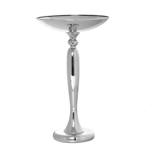 """17"""" Flared Top Silver Metal Flower Ball Stand Candle Holder"""