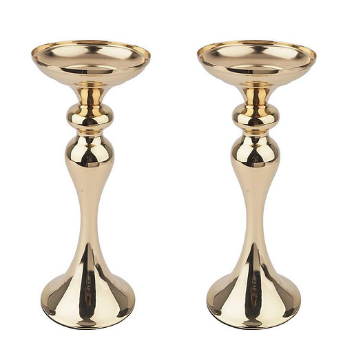 "12"" Tall Gold Floral Stand Pillar Candle Holders"