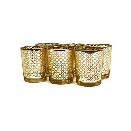 "Gold Lattice Tealight/Votive Holders (2.5"" tall, 2"" opening)"