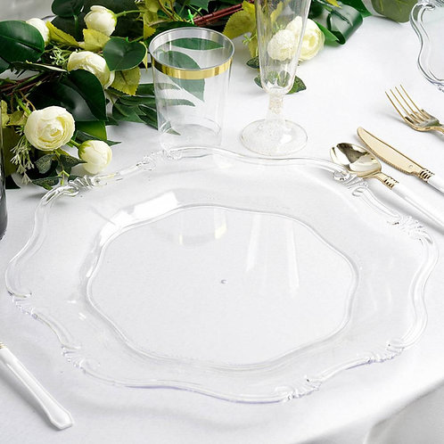 """13"""" Clear Acrylic Baroque Scalloped Edge Chargers"""