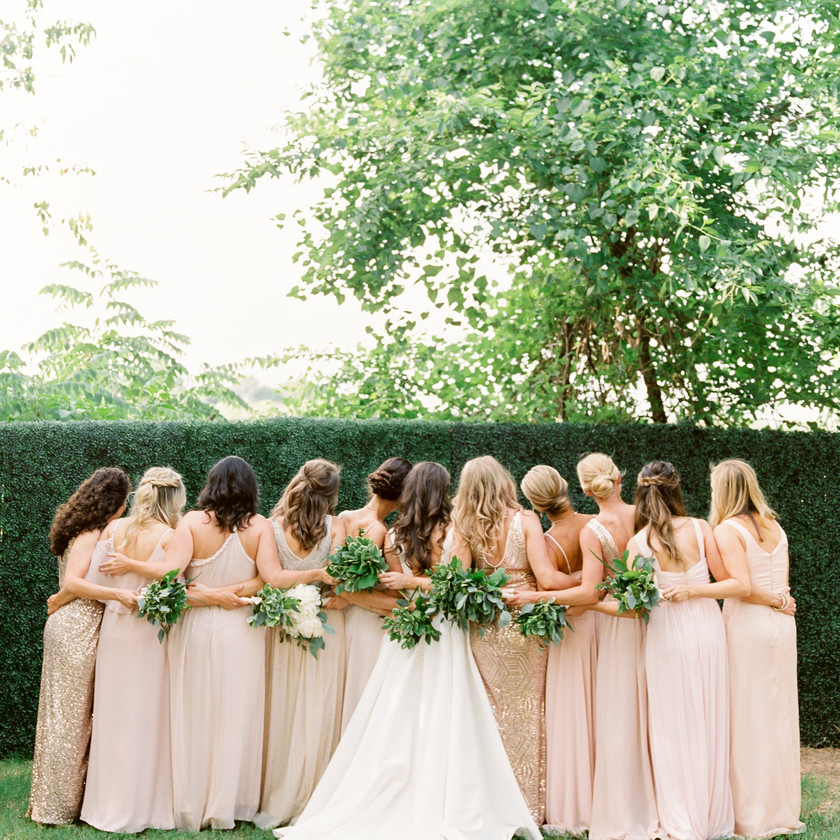 Outdoor Wedding Northwest Arkansas Bride Bridal Party Floral Arrangement