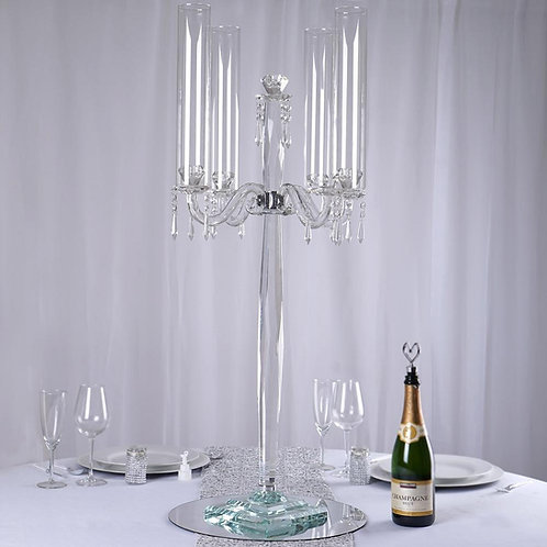 """36"""" Tall 4 Arm Crystal Glass Candle Holder"""