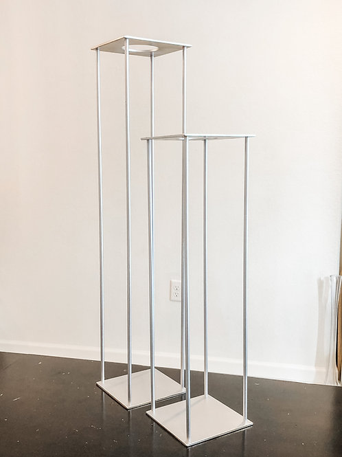"Matte Silver Harlow Arrangement Stands- 18"" & 24"""