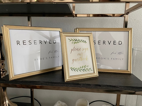 Framed Reserved Signs & Guestbook Sign