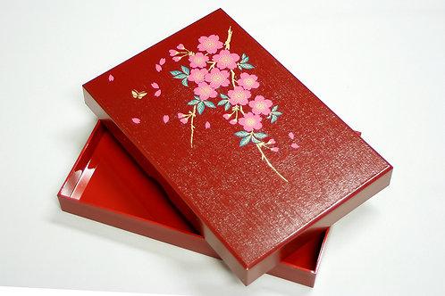 加賀小箱 桜 朱塗り